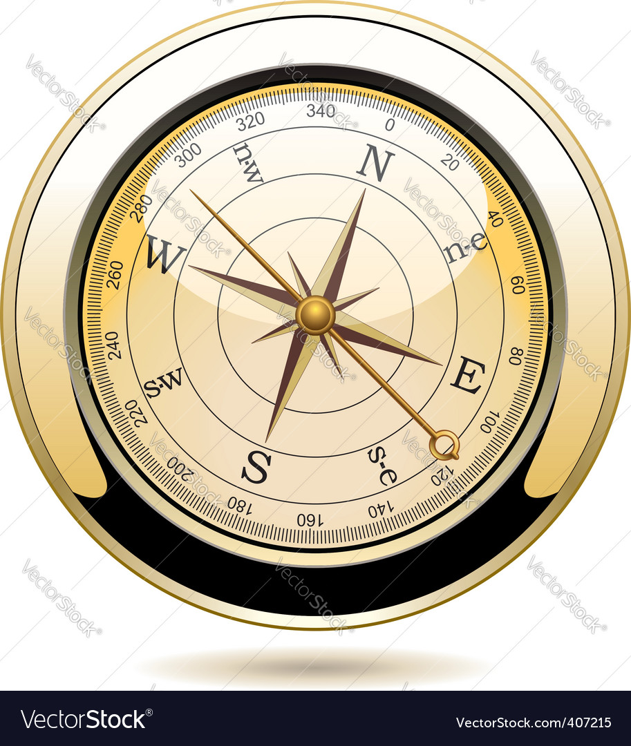 Golden vintage compass vector | Price: 3 Credit (USD $3)