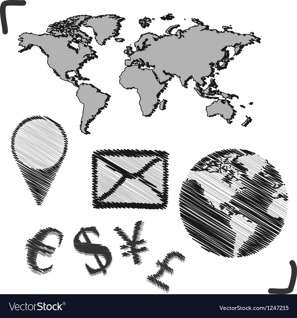 Hand drawn globe doodles vector | Price: 1 Credit (USD $1)