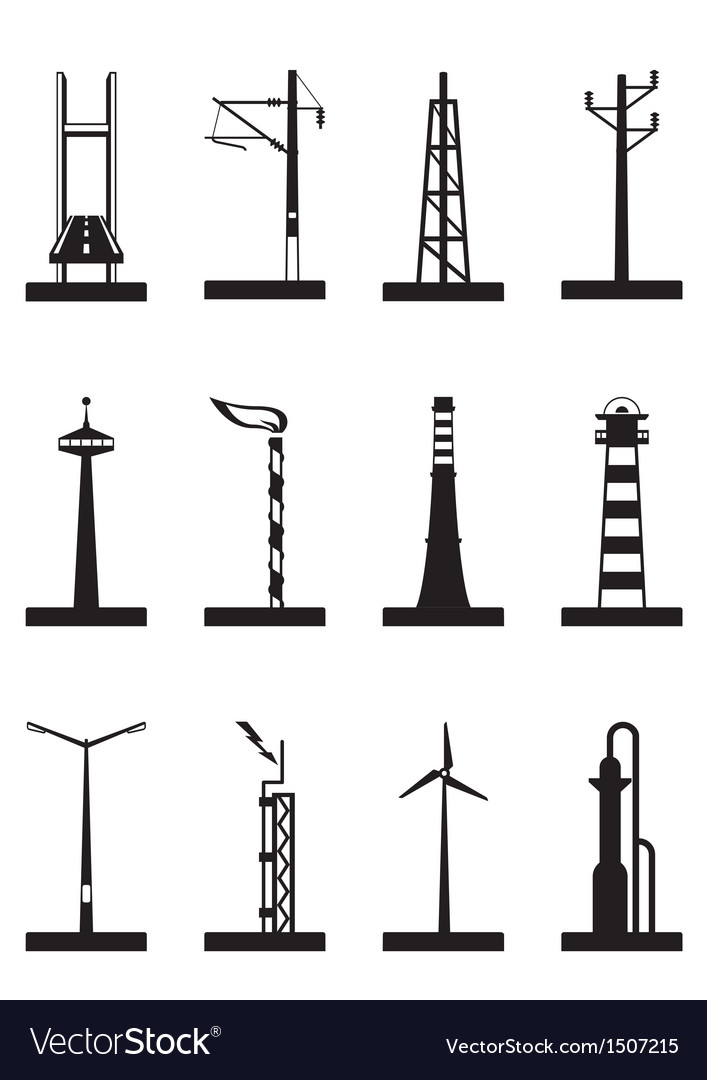 Industrial towers poles and chimneys vector | Price: 1 Credit (USD $1)
