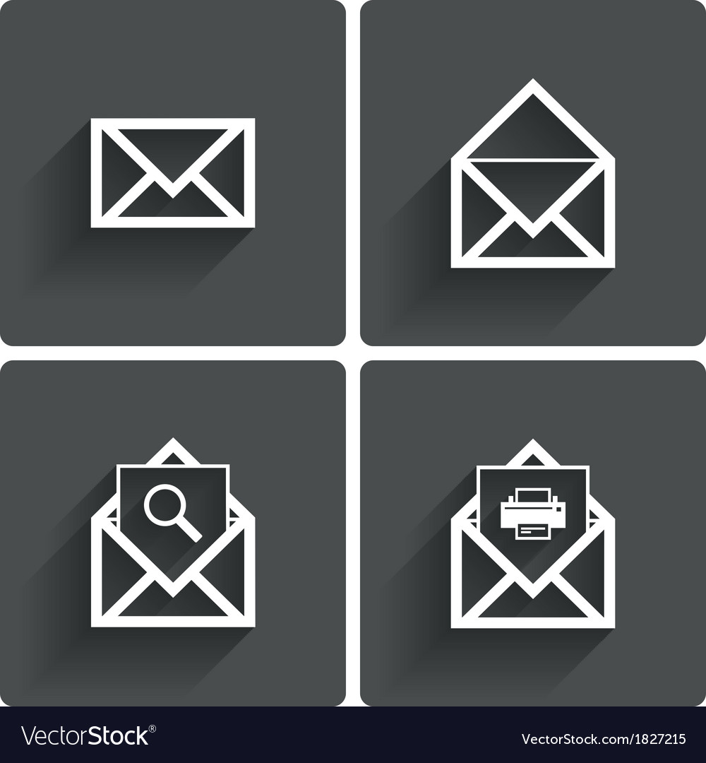 Mail icons mail search symbol print letters vector | Price: 1 Credit (USD $1)