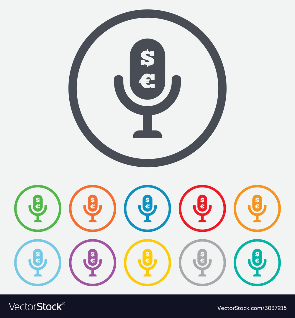 Microphone icon speaker symbol paid music sign vector | Price: 1 Credit (USD $1)