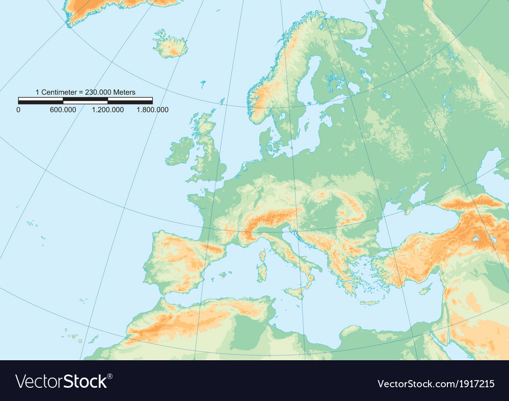 Physical europe graticule vector | Price: 1 Credit (USD $1)
