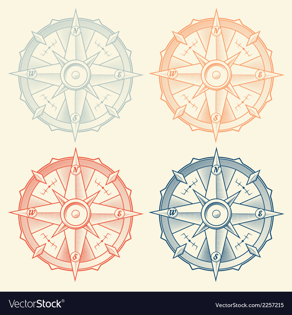 Set of vintage graphic compasses vector | Price: 1 Credit (USD $1)