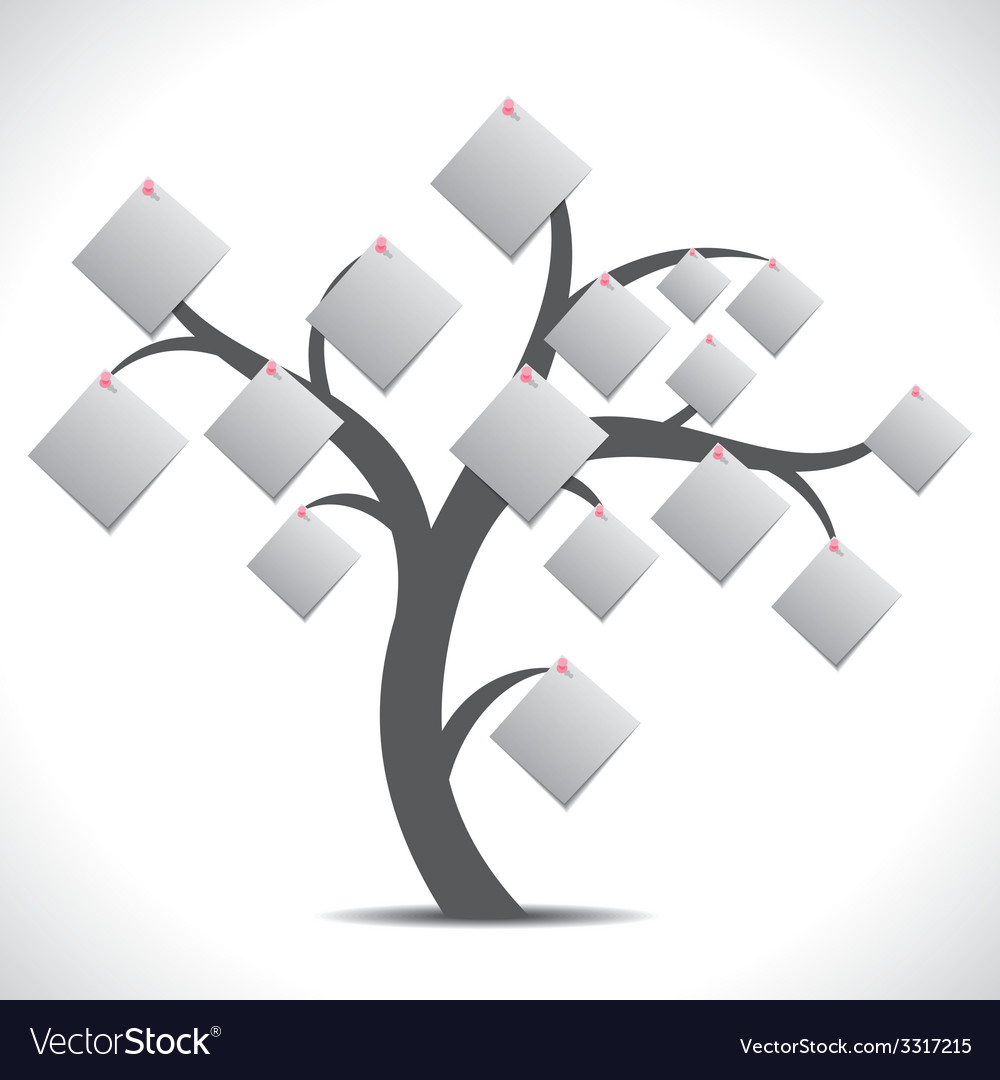 White paper note tree vector | Price: 1 Credit (USD $1)
