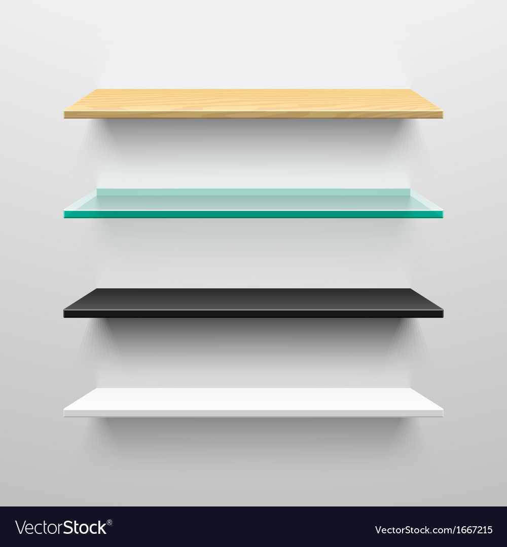 Wooden glass black and white shelves vector | Price: 1 Credit (USD $1)