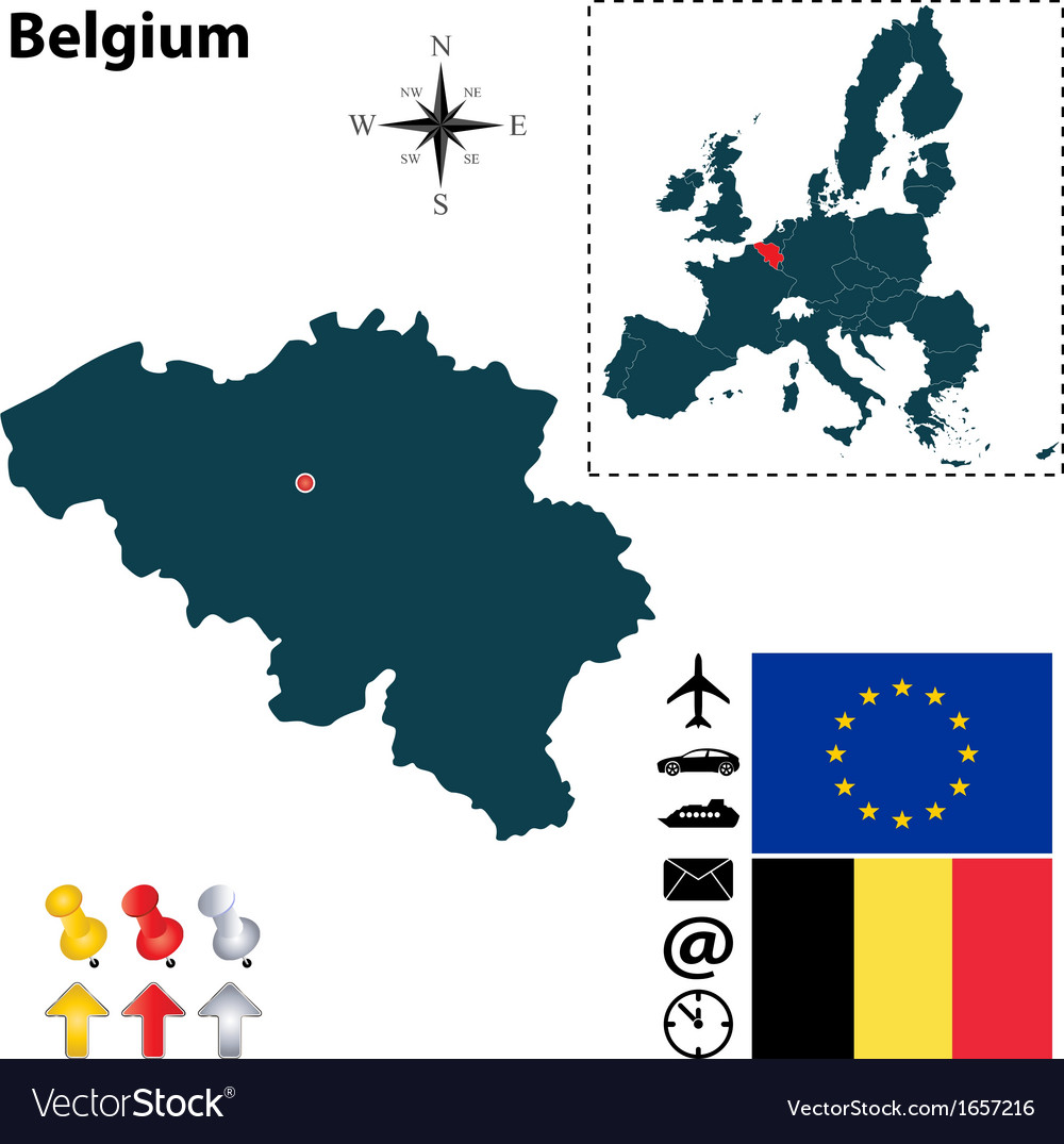 Belgium and european union map vector | Price: 1 Credit (USD $1)