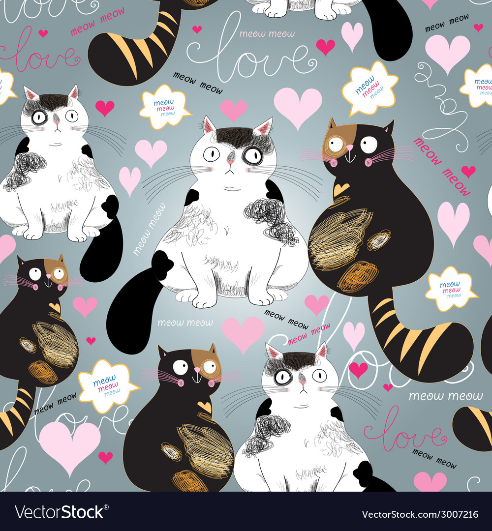 Bright pattern with enamored cats vector | Price: 1 Credit (USD $1)