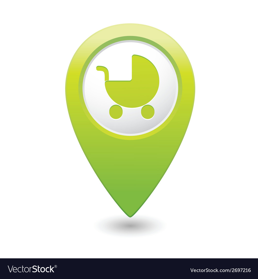 Carriage icon on map pointer green vector | Price: 1 Credit (USD $1)