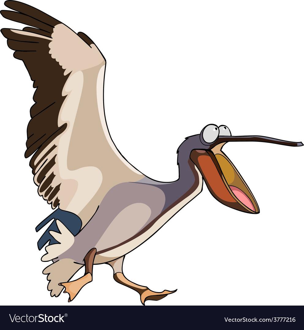 Cartoon bird pelican runs with open beak vector | Price: 3 Credit (USD $3)