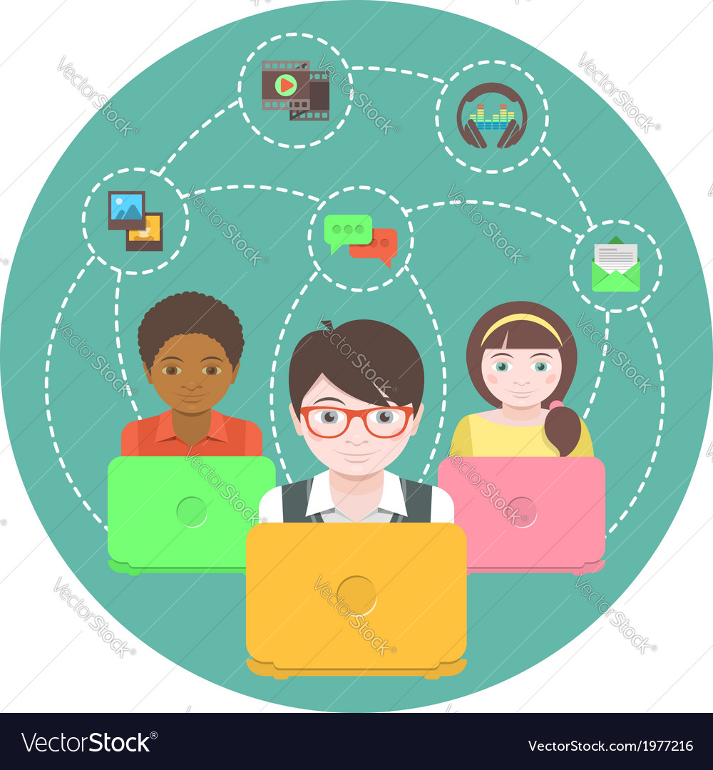 Children and social networking vector | Price: 1 Credit (USD $1)
