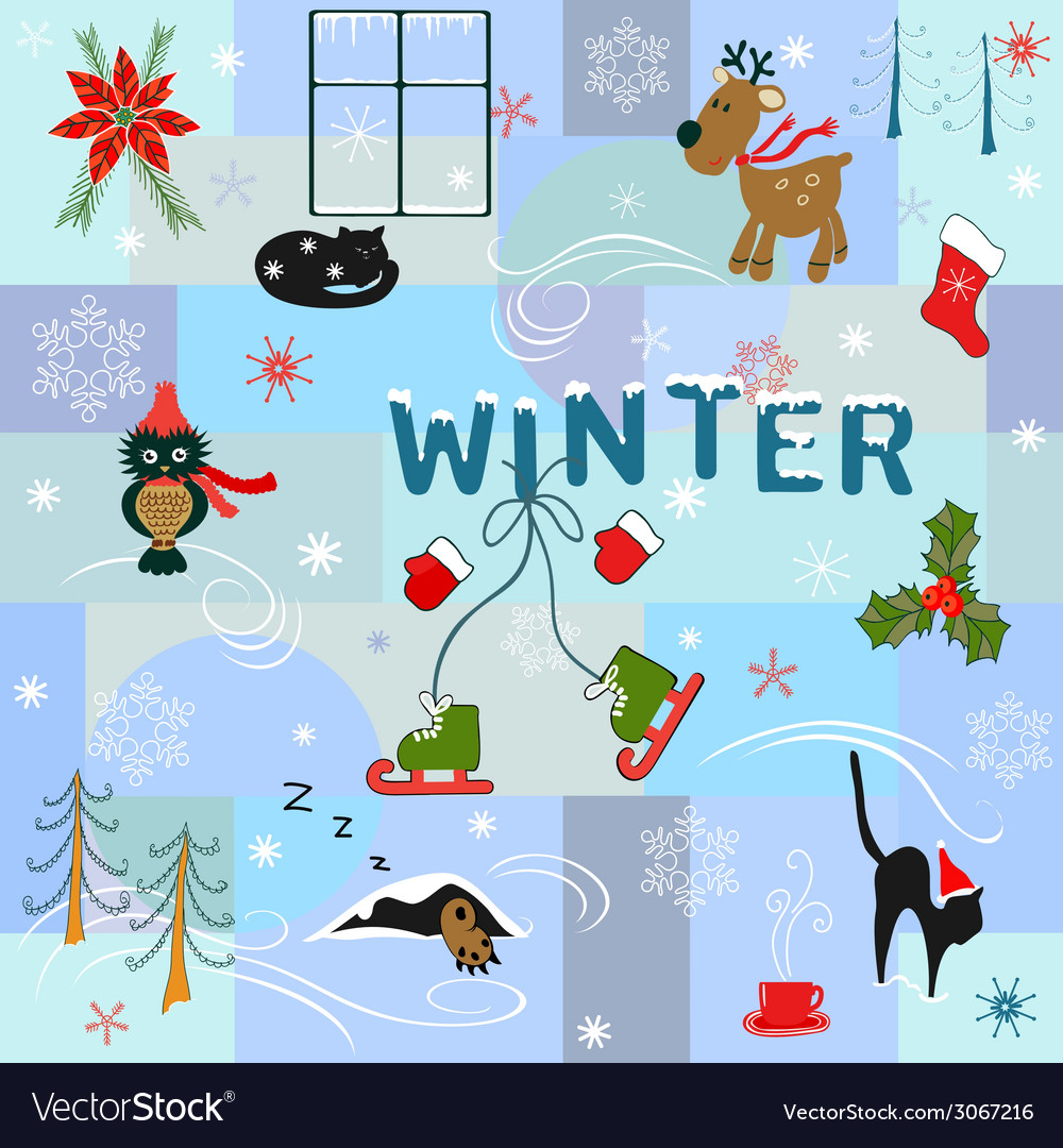 Funny winter background vector | Price: 1 Credit (USD $1)