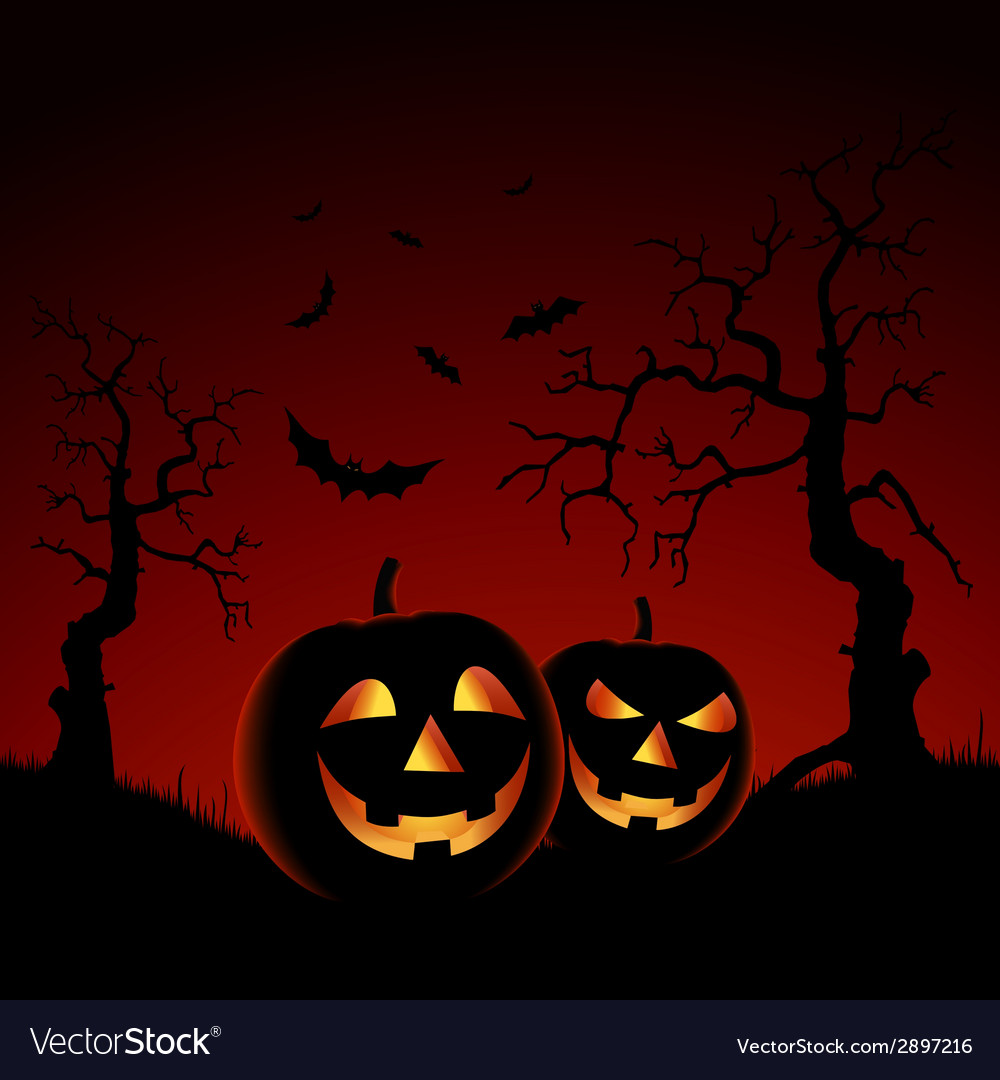 Halloween night red backdrop with pumpkins vector | Price: 1 Credit (USD $1)