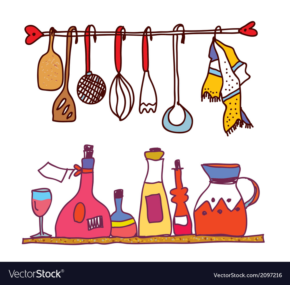 Kitchen and wine accesorries funny design vector | Price: 1 Credit (USD $1)