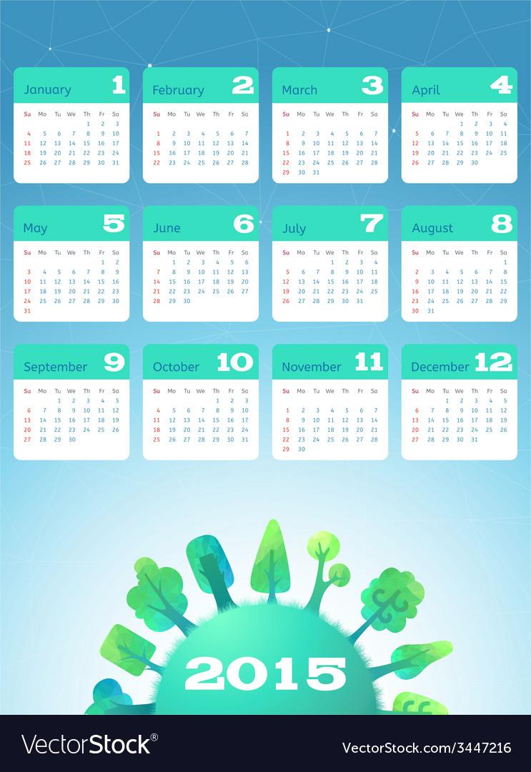 Nature calendar 2015 vector   Price: 1 Credit (USD $1)