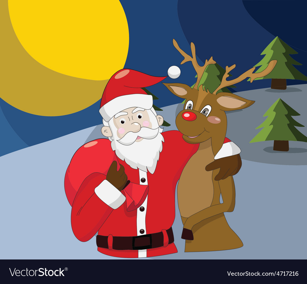 Santa claus with reindeer on christmas background vector | Price: 1 Credit (USD $1)