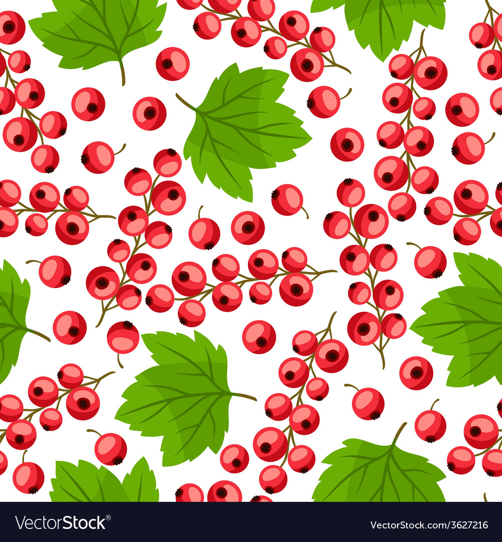 Seamless nature pattern with red currants vector | Price: 1 Credit (USD $1)