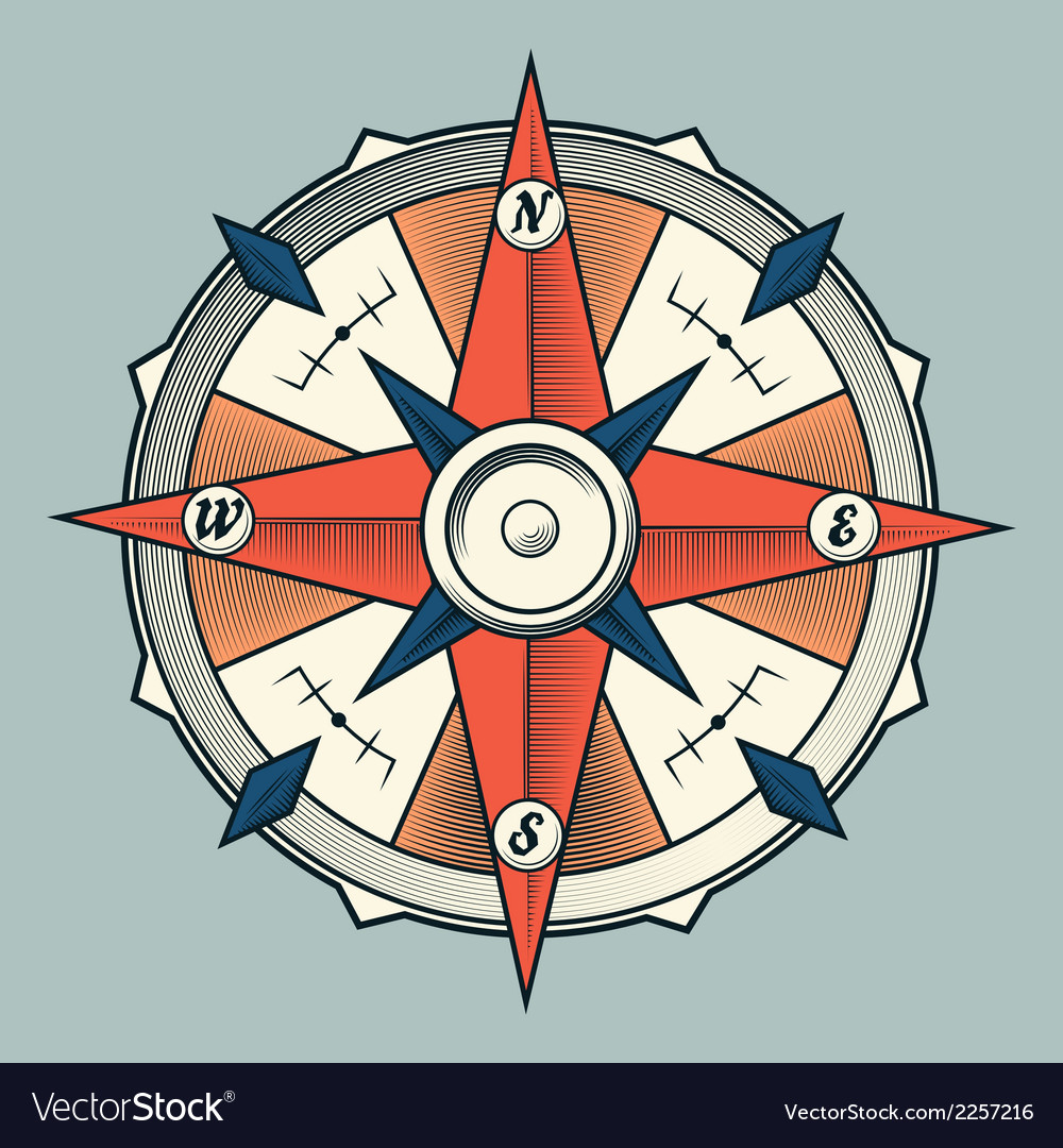 Vintage colourful graphic compass vector | Price: 1 Credit (USD $1)