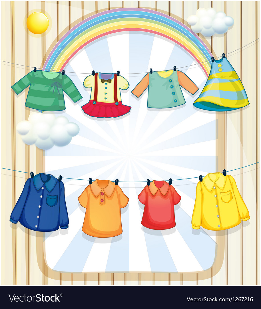 Washed clothes hanging under the heat of the sun vector | Price: 1 Credit (USD $1)