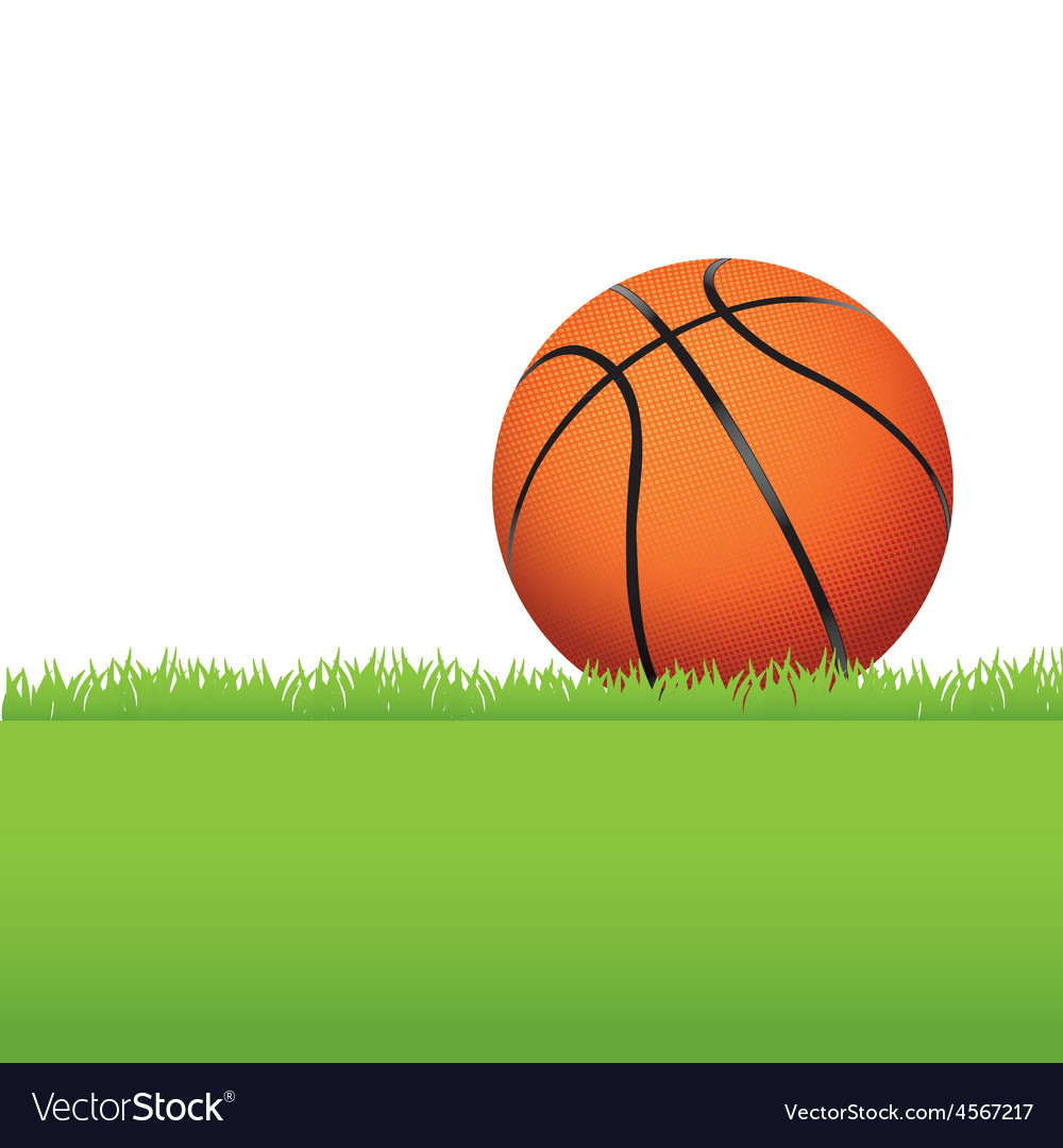 Basketball in the grass vector | Price: 1 Credit (USD $1)