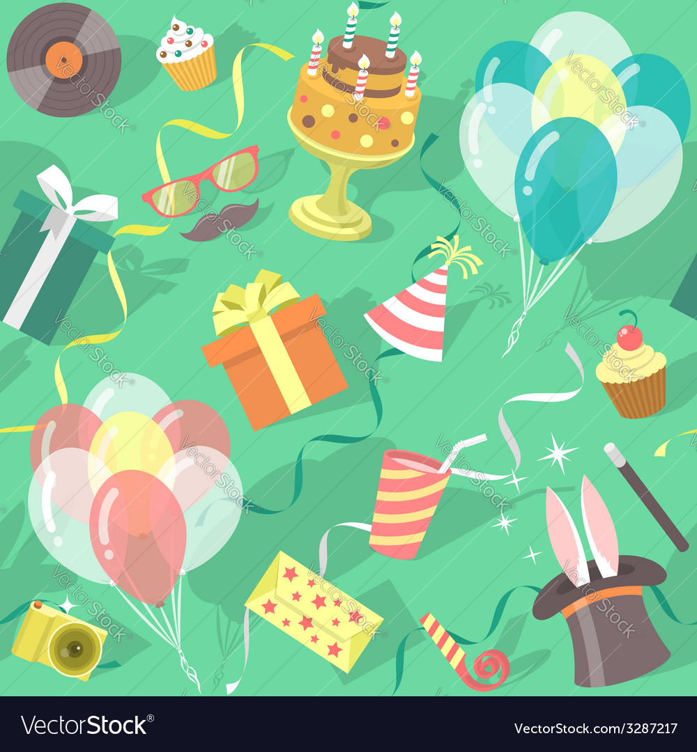 Birthday party celebration seamless pattern vector | Price: 1 Credit (USD $1)