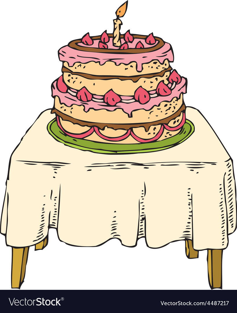 Cake on the table vector | Price: 1 Credit (USD $1)