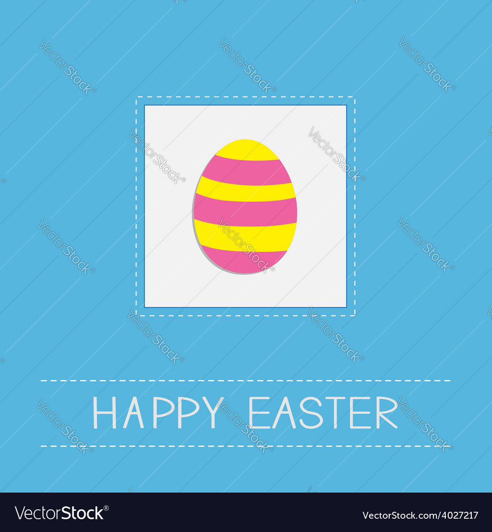 Colored easter egg dash line frame card flat desig vector | Price: 1 Credit (USD $1)
