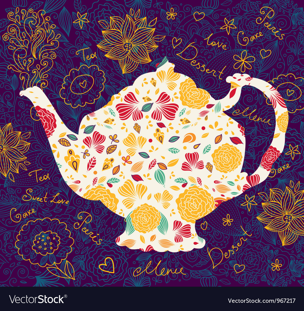 Floral teapot vector | Price: 1 Credit (USD $1)