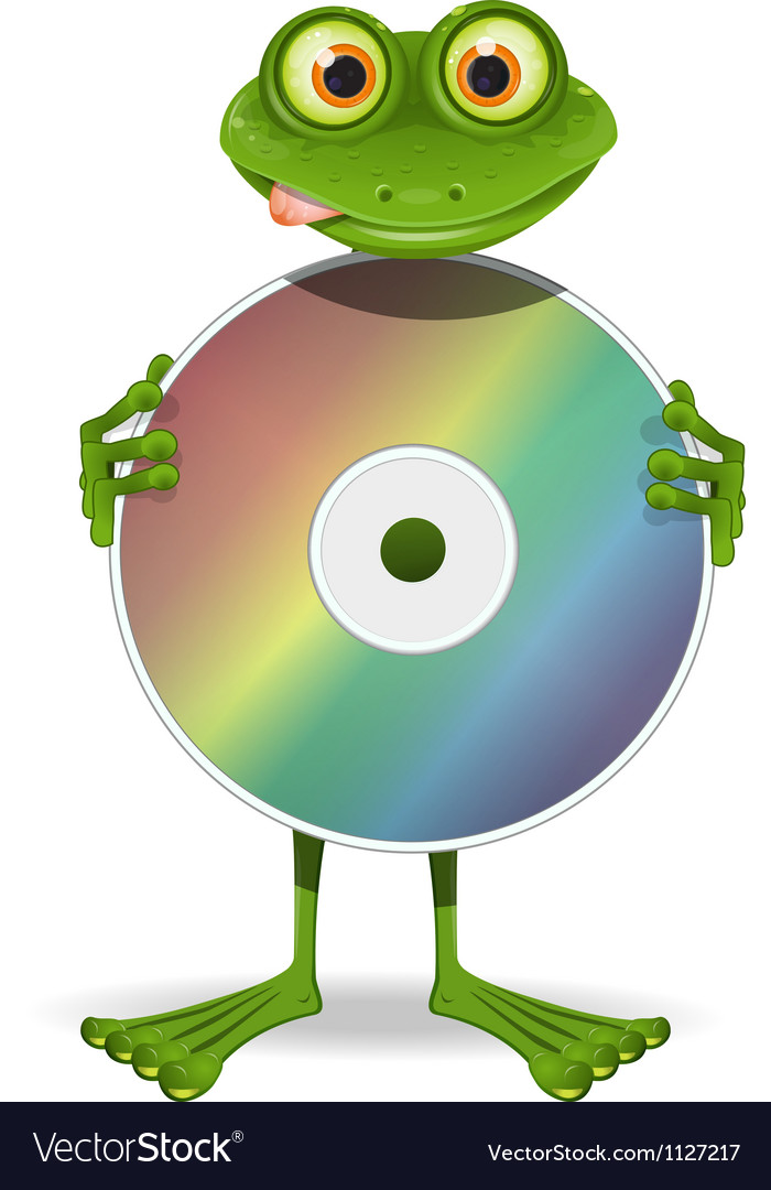 Frog and cd vector | Price: 1 Credit (USD $1)