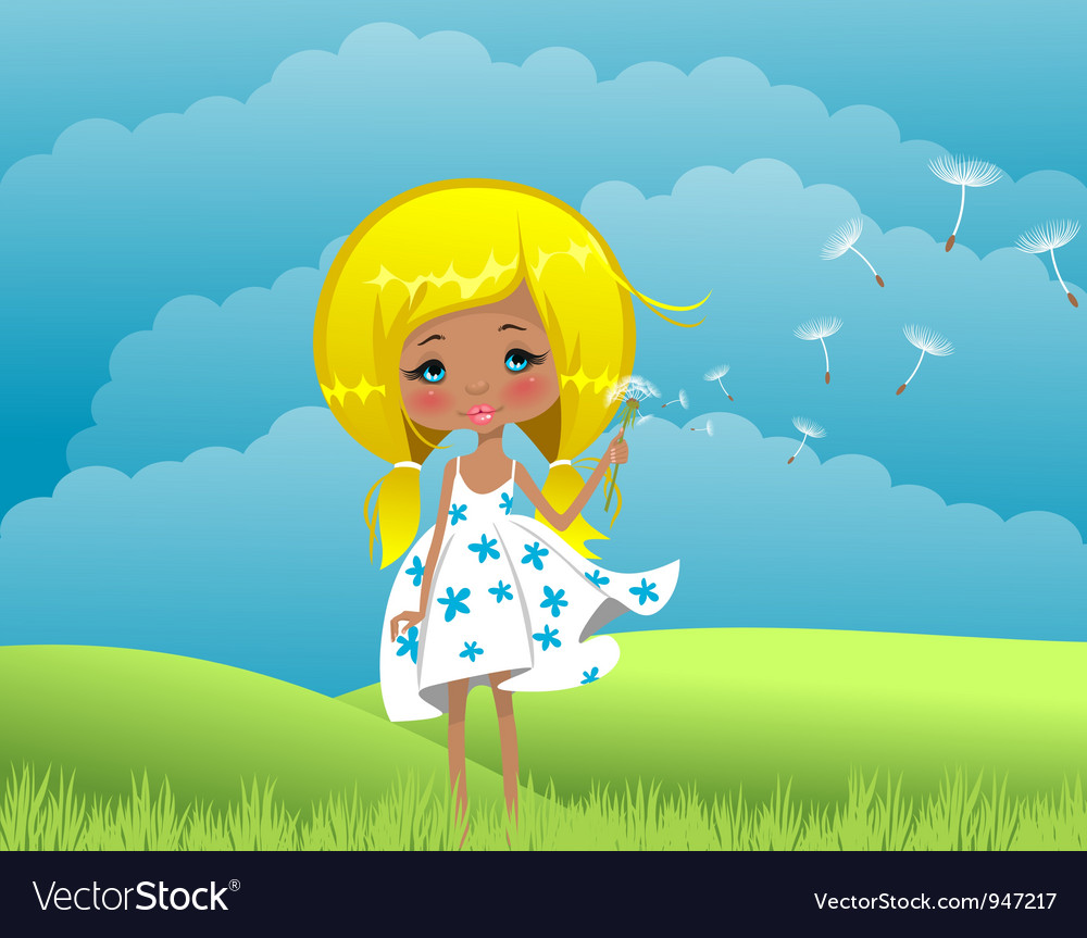 Girl on to the meadow vector | Price: 1 Credit (USD $1)