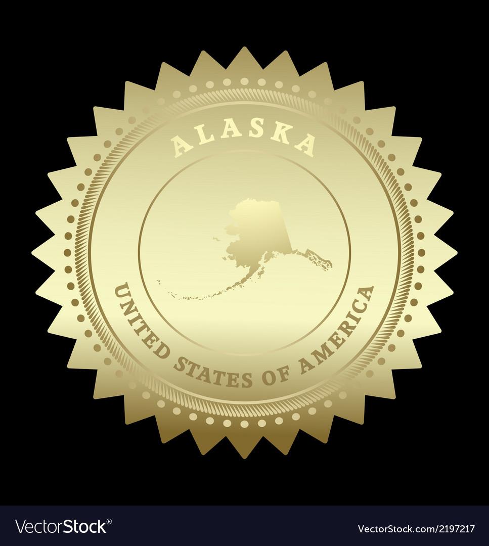 Gold star label alaska vector | Price: 1 Credit (USD $1)