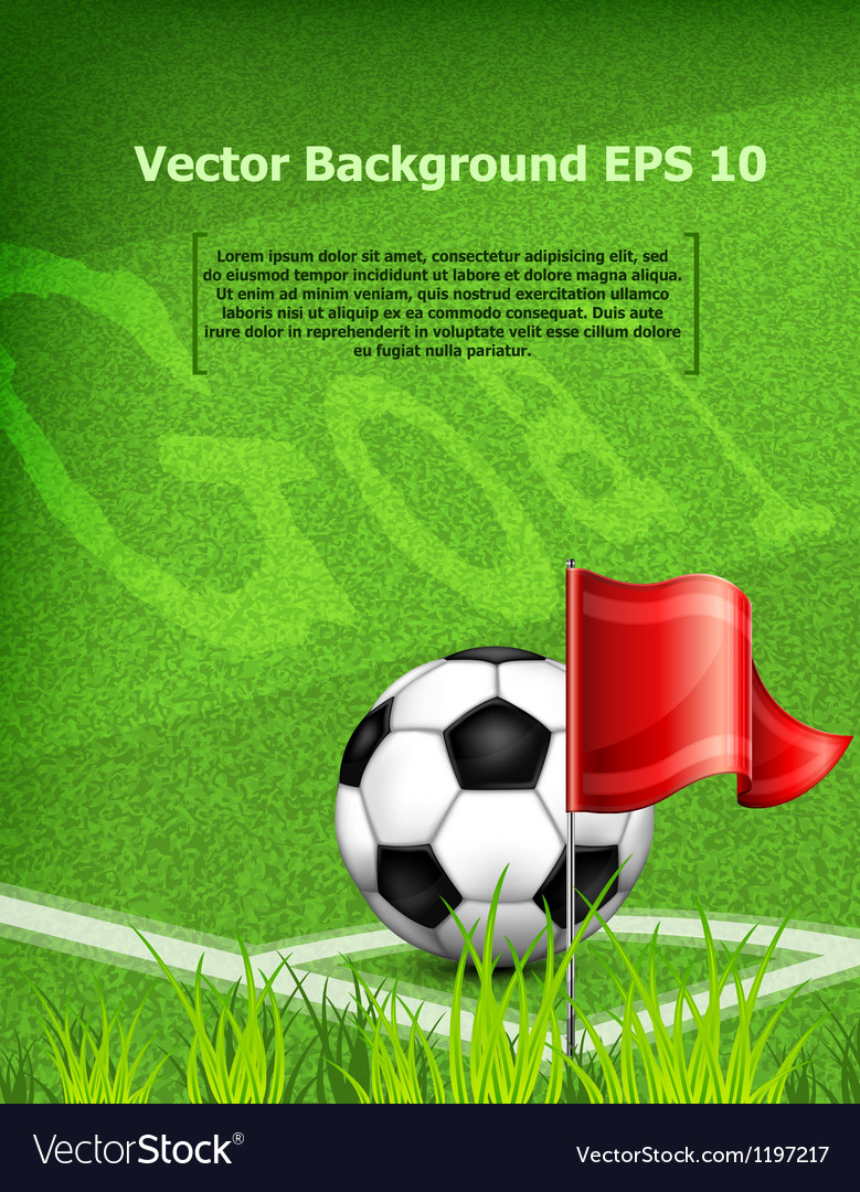 Green playing field ball red flag goal vector | Price: 1 Credit (USD $1)