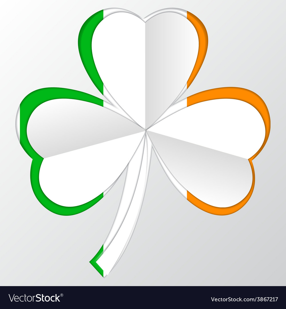 Irish flag and symbol combination on white vector | Price: 1 Credit (USD $1)
