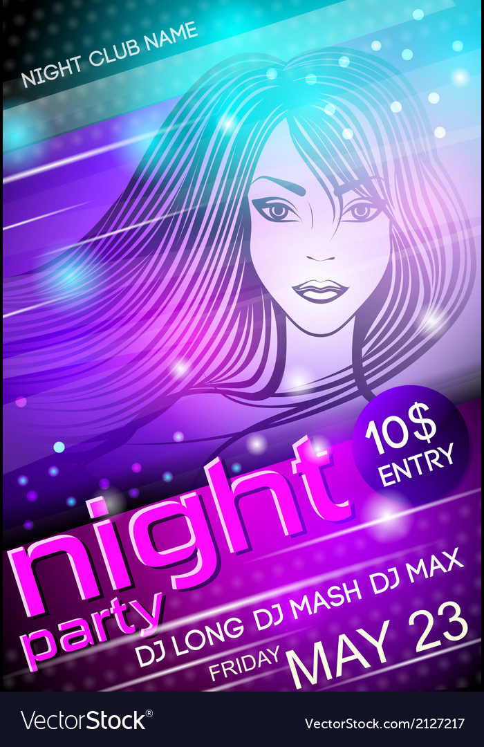 Night party sexy girl poster vector | Price: 1 Credit (USD $1)