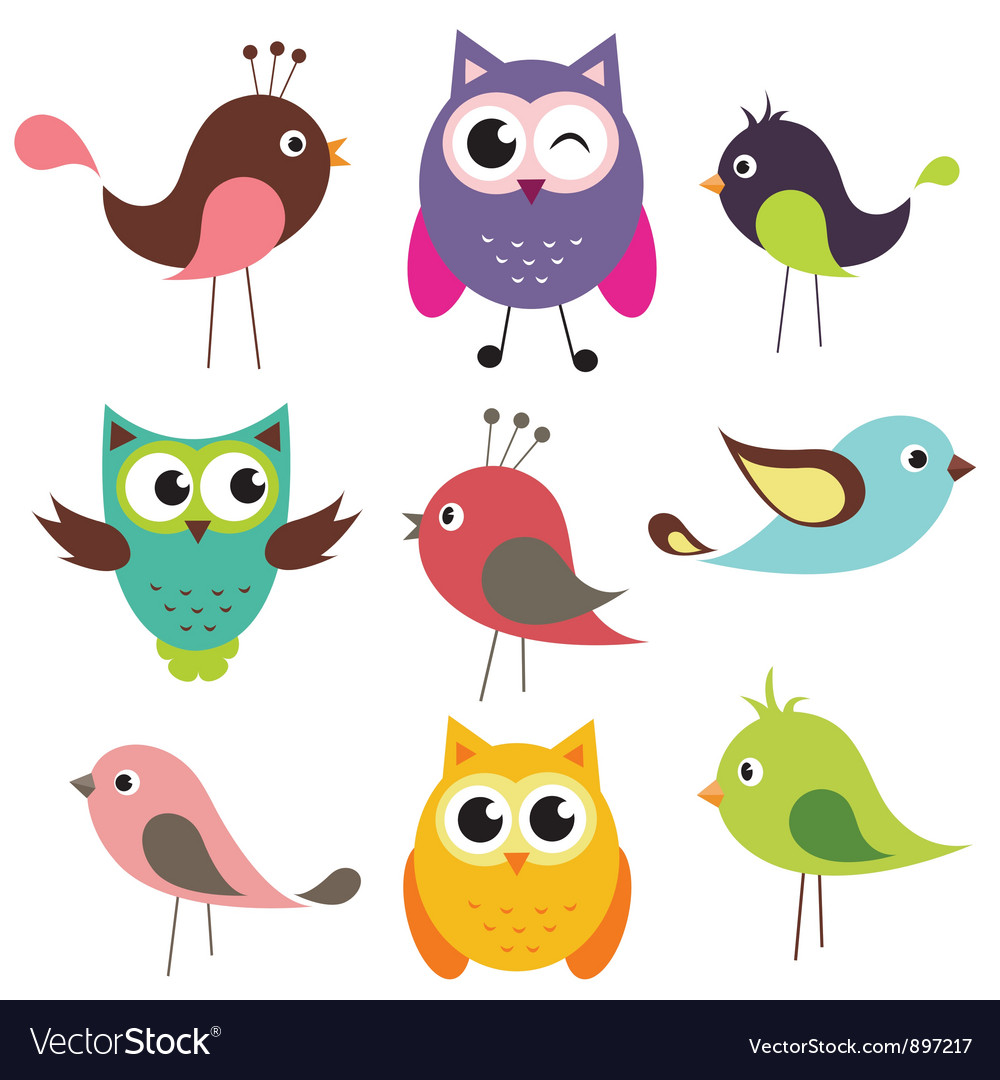 Set of cute birds vector | Price: 1 Credit (USD $1)