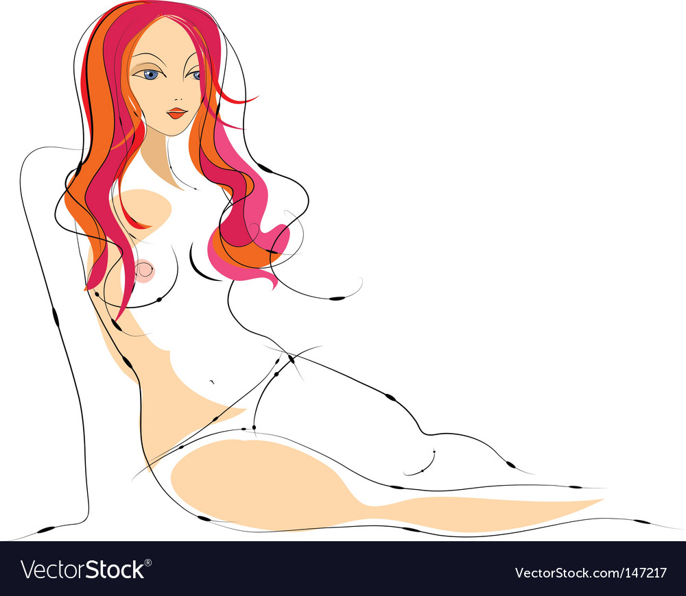 Sexy female nude sketch vector | Price: 3 Credit (USD $3)