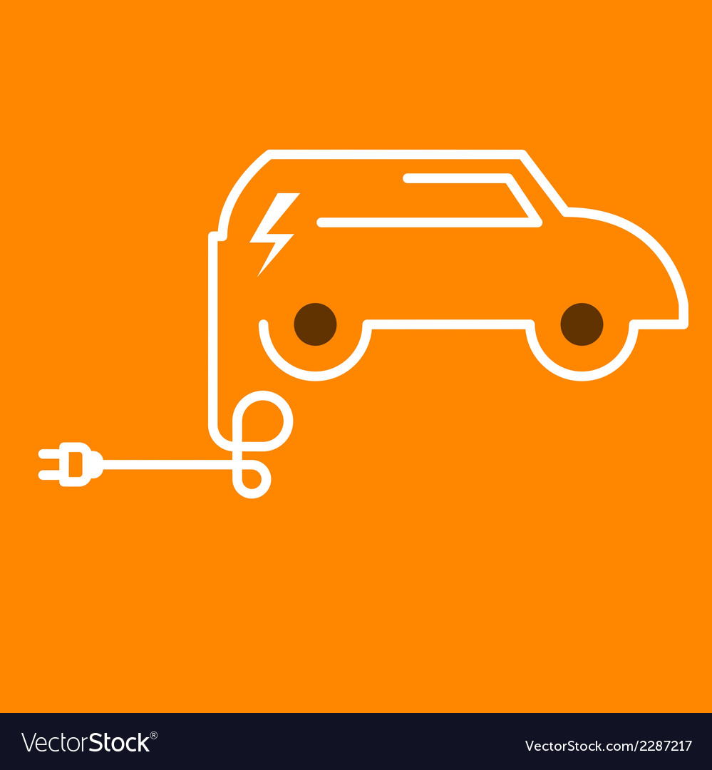 Symbolic electric car with plug vector | Price: 1 Credit (USD $1)
