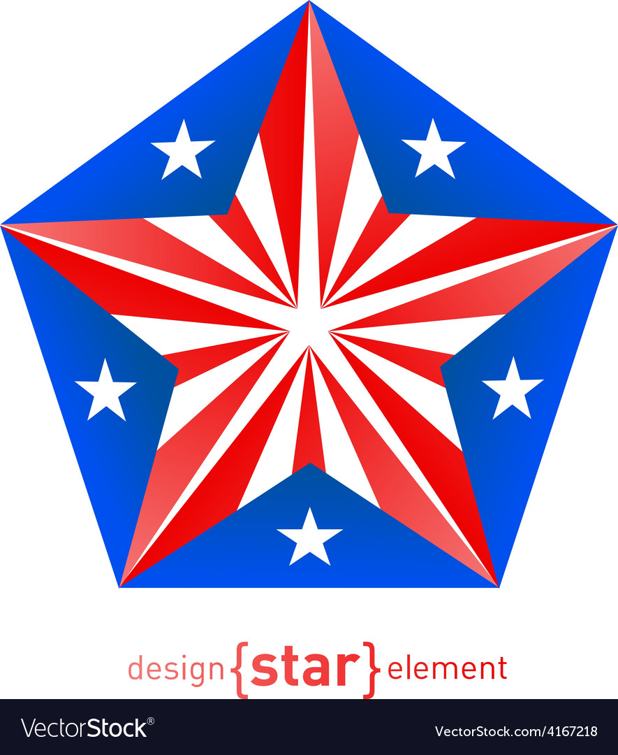3d abstract star with puerto rico flag colors vector | Price: 1 Credit (USD $1)