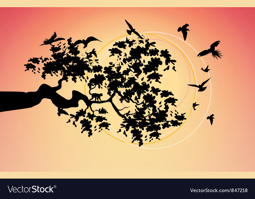 Beautiful picture with the birds vector | Price: 1 Credit (USD $1)