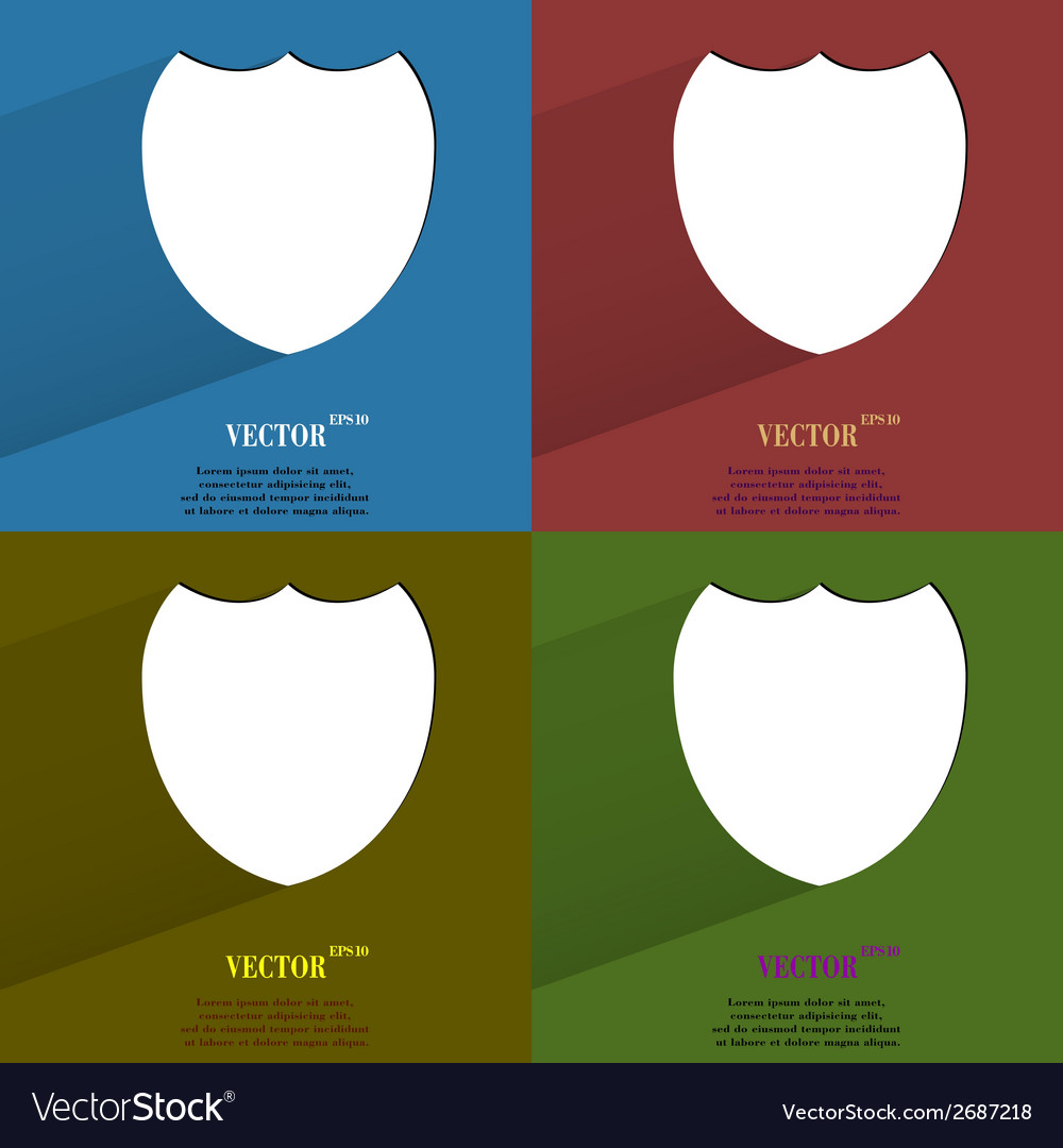 Color set shield protection flat modern web button vector | Price: 1 Credit (USD $1)