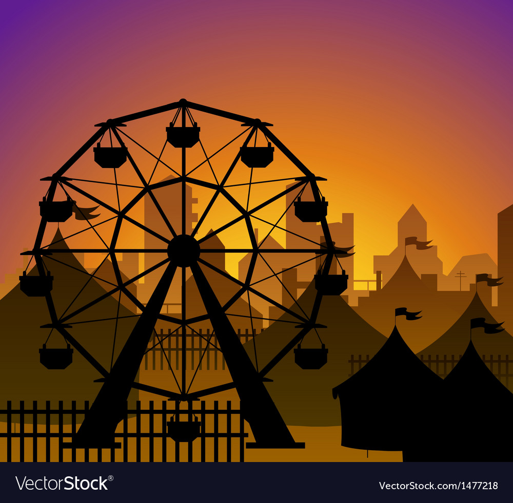 Ferris wheel and circus silhouette vector | Price: 1 Credit (USD $1)
