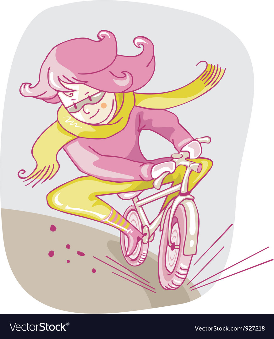 Girl on bicycle vector | Price: 3 Credit (USD $3)