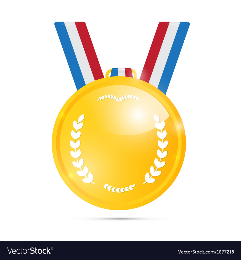 Gold medal award isolated on white background vector | Price: 1 Credit (USD $1)