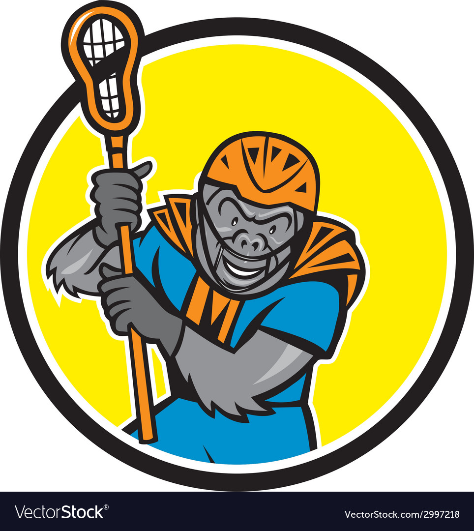 Gorilla lacrosse player circle cartoon vector | Price: 1 Credit (USD $1)