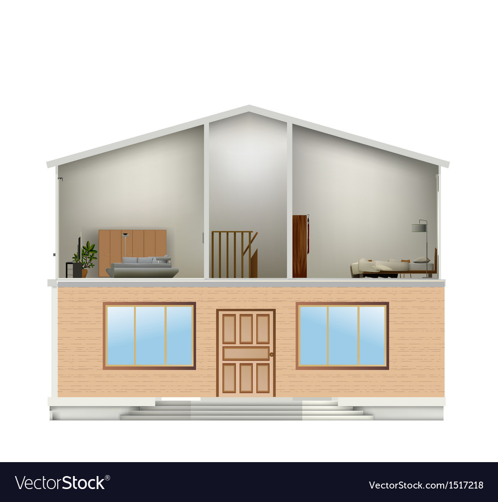 House cut with interiors and part facade vector | Price: 1 Credit (USD $1)