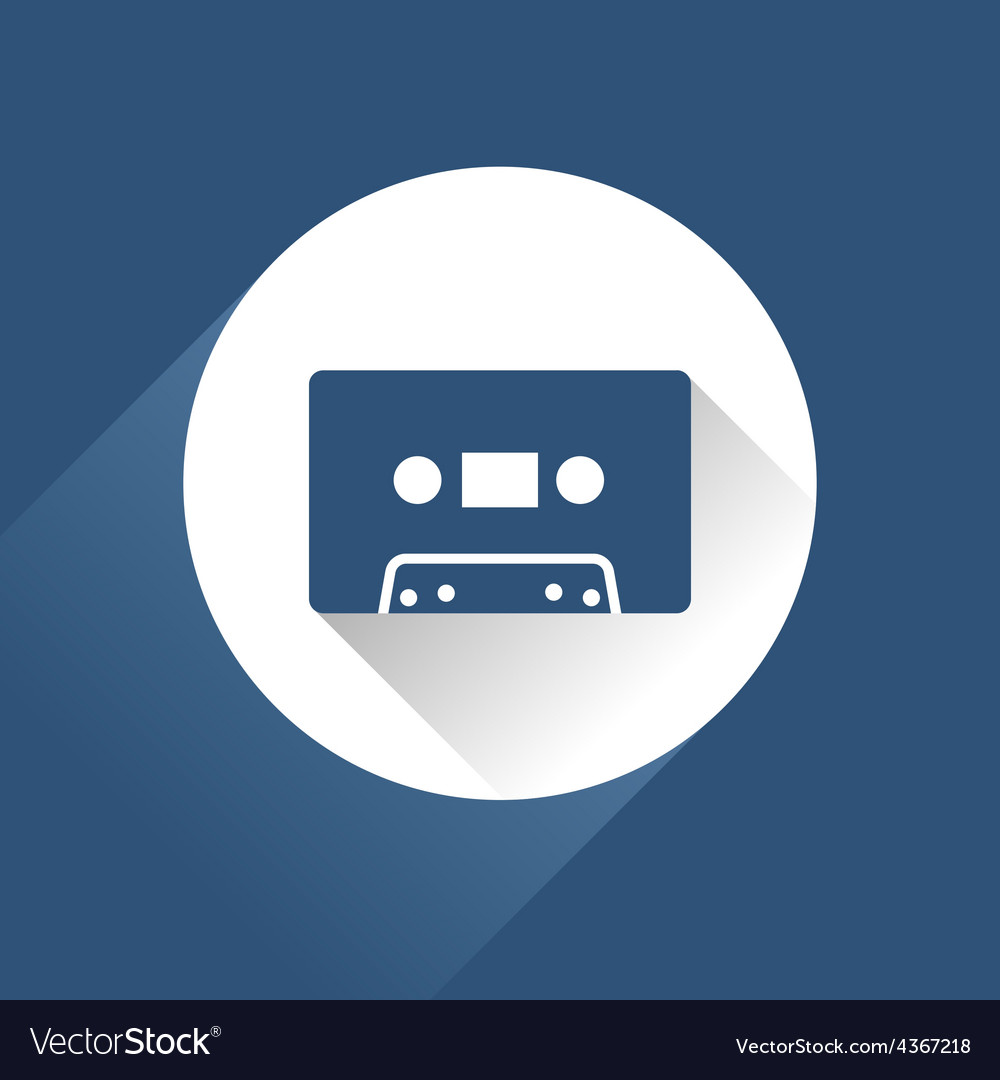 Modern audio icon with cassette and long shadow vector | Price: 1 Credit (USD $1)
