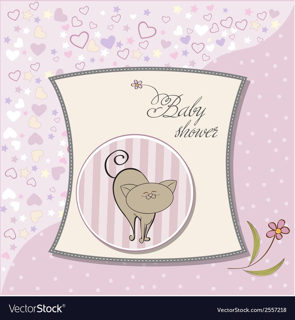 New baby shower card with cat vector   Price: 1 Credit (USD $1)