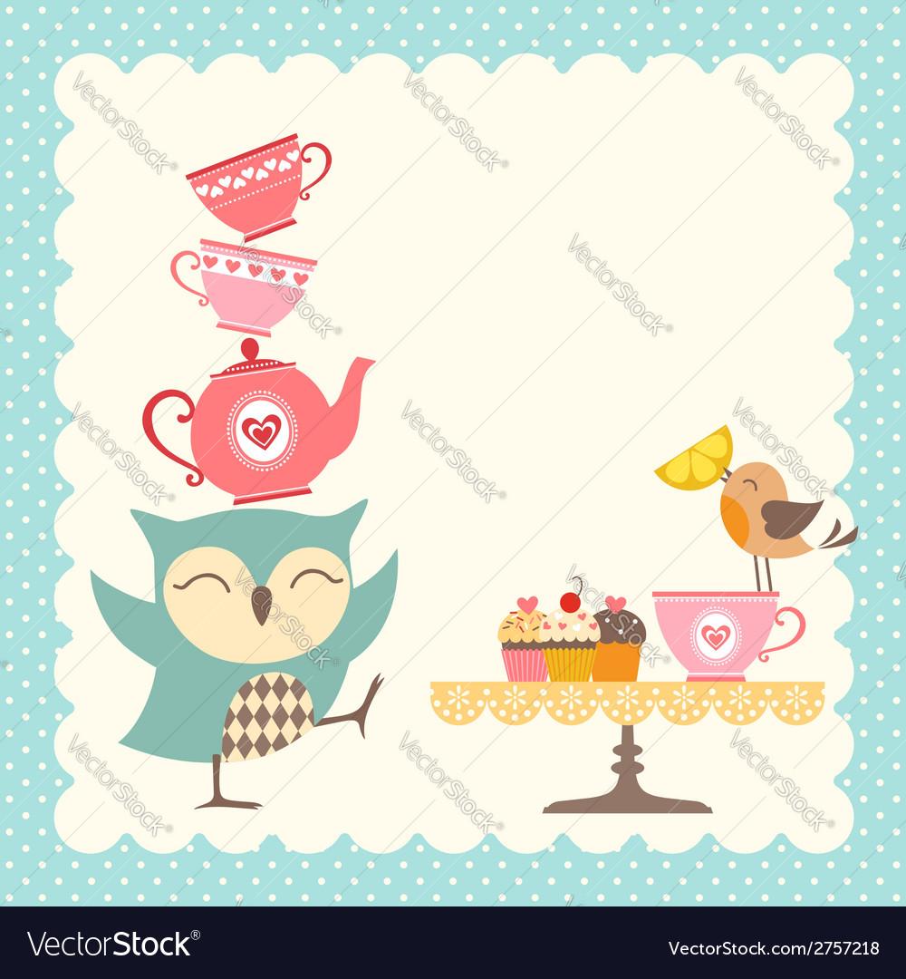 Owl tea time vector | Price: 1 Credit (USD $1)