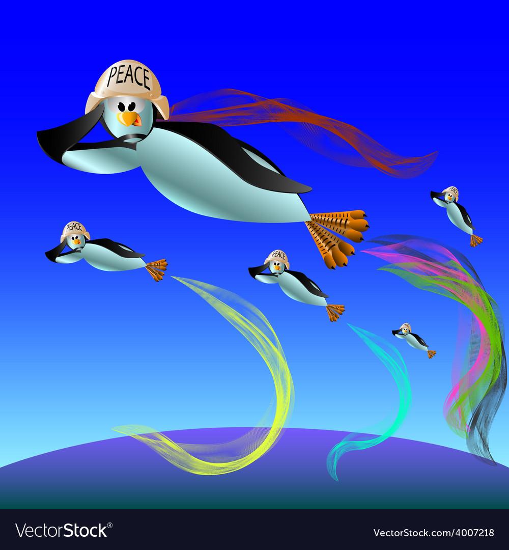 Penguin flies vector | Price: 1 Credit (USD $1)