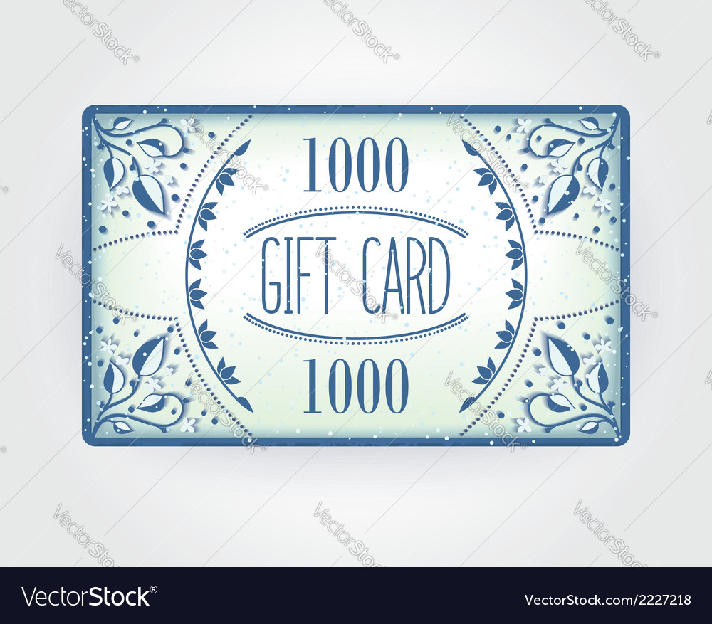 Retro gift card template vector | Price: 1 Credit (USD $1)