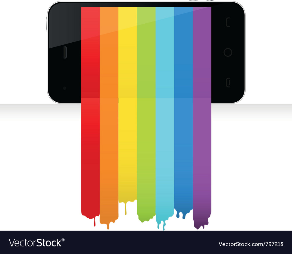 Smartphone with rainbow paint vector   Price: 1 Credit (USD $1)